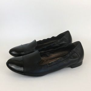 AGL | Black Leather Cap Toe Smoking Flats Loafers